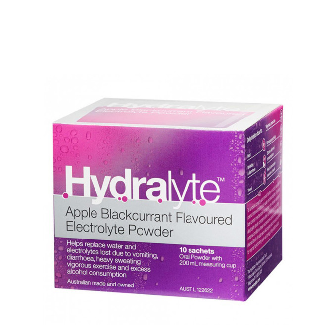 Hydralyte Electrolyte Powder Apple Blackcurrant Flavour 10x 5g Sachets